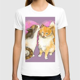 Cat licks a cat on the background of the heart T-shirt