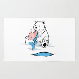 Polar bear with whale Rug