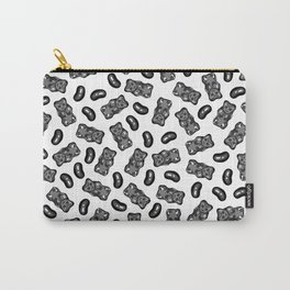 Jelly Beans & Gummy Bears Pattern - black on white Carry-All Pouch