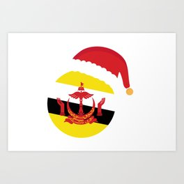 Brunei Christmas sant claus flag designs  Art Print