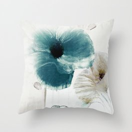 Teal Poppies Throw Pillow