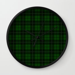 Forest Green Plaid Wall Clock