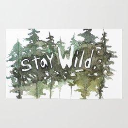Stay Wild - pine tree stencil words art print Rug