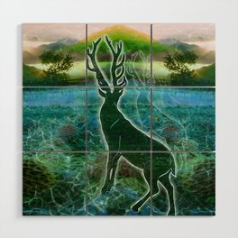 Garden of the Glitch Valley Stag Wood Wall Art