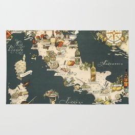 Gastronomic Map of Italy 1949 Rug