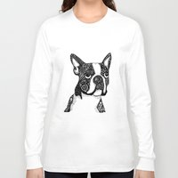 boston terrier Long Sleeve T-shirts featuring Boston Terrier by DayLee Doodler