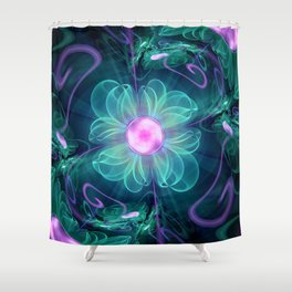 The Enigma Bloom, an Aqua-Violet Fractal Flower Shower Curtain