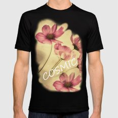 Dreamy Cosmea MEDIUM Black Mens Fitted Tee