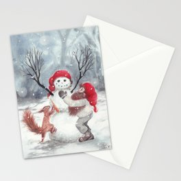 Gnome and squirrel building snowman - Christmas Stationery Cards