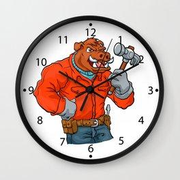 Boar cartoon mascot. Wall Clock