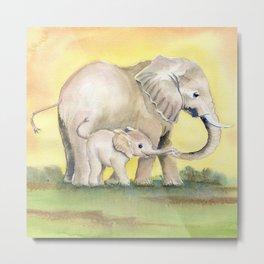Colorful Mom and Baby Elephant 2 Metal Print