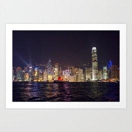 Hong Kong Night Skyline Art Print