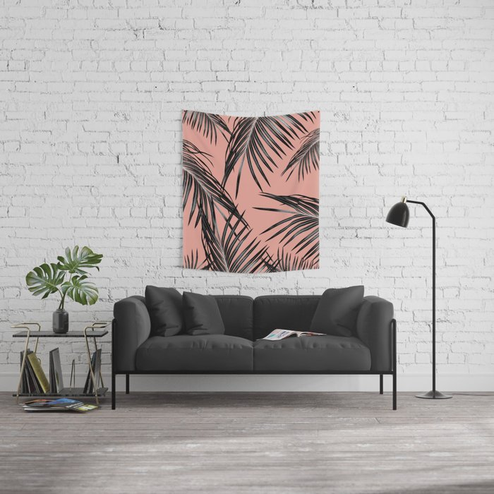 Black Palm Leaves Dream #5 #tropical #decor #art #society6 Wall Tapestry