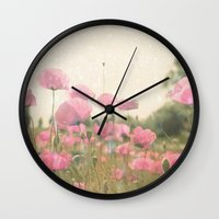 poppies Wall Clocks featuring POPPIES by Monika Strigel