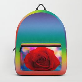 Red Rose and Rainbow Bokeh Backpack