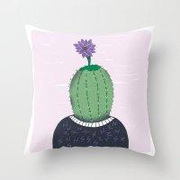 cactus Throw Pillows featuring Cactus by Rodrigo Fortes