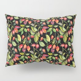 Rose hips on black background Pillow Sham