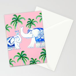 Chinoiserie blue and white porcelain Elephants on pink with palm trees Stationery Cards