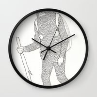 hiking Wall Clocks featuring Hitch Hiking by veronika