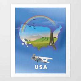 USA map. Art Print