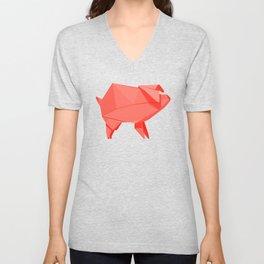 Origami Pig Unisex V-Neck