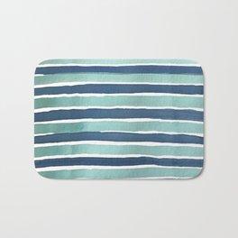 Aqua Teal Stripe Bath Mat