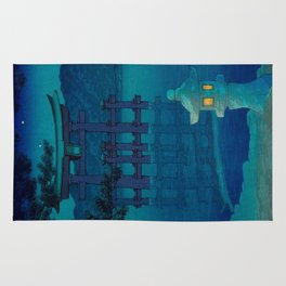 Japanese Woodblock print Torii In The Lake During Night Blue Monochromatic Rug