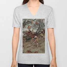 """Autumn Fairies"" by Arthur Rackham Unisex V-Neck"