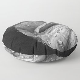 White Morning - graphite pencil drawing Floor Pillow