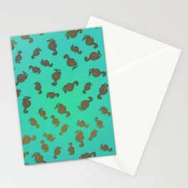 Copper Seahorses in an Aqua Sea Stationery Cards