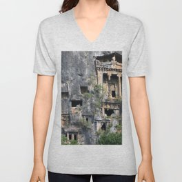 Rock Tombs Photograph Fethiye Unisex V-Neck