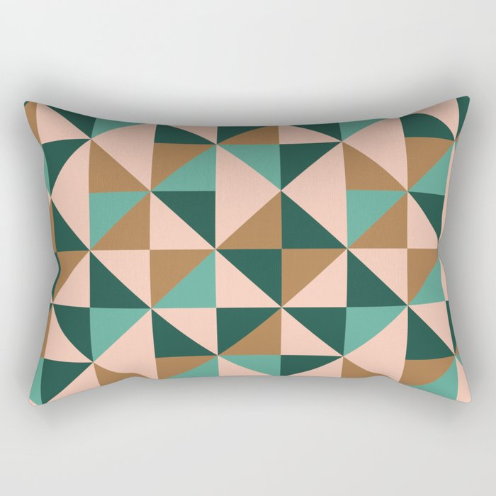 Retro Triangles in Blush Pink, Gold, and Teal Rectangular Pillow