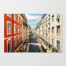 Beautiful Streets Downtown Lisbon City, Wall Art Print, Modern Architecture Art, Poster Decor Canvas Print