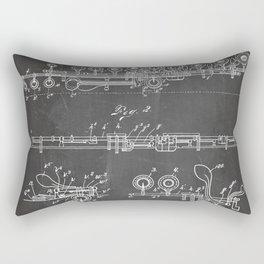 Flute Patent - Musician Art - Black Chalkboard Rectangular Pillow