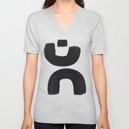 Black And White Minimalist Mid Century Abstract Ink Art Curved Tribal Mysterious Shapes Unisex V-Neck