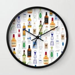 Tequila, Whiskey, Vodka Bottles Illustration Wall Clock