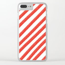 Red and White Painted Diagonal Stripes Pattern Clear iPhone Case