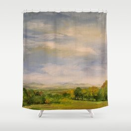 Scenic Autumn Late Afternoon in Vermont Nature Art Landscape Oil Painting Shower Curtain