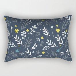 Floral Pattern 1 - Blue Rectangular Pillow