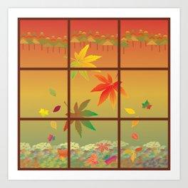 Falling Leaves on Window Pane Art Print