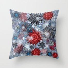 An Overindulgence of Snowflakes on Slate Blue Throw Pillow