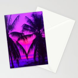Pink Palm Trees by the Indian Ocean Stationery Cards