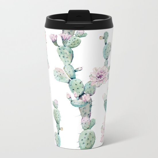 Arizona Desert Rose Cactus Pattern Metal Travel Mug