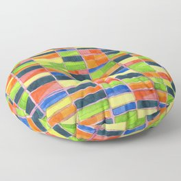 Warm Spring Time Grid Floor Pillow