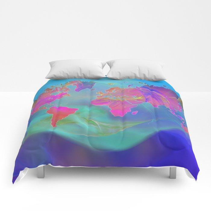 World Map Fractal Comforters