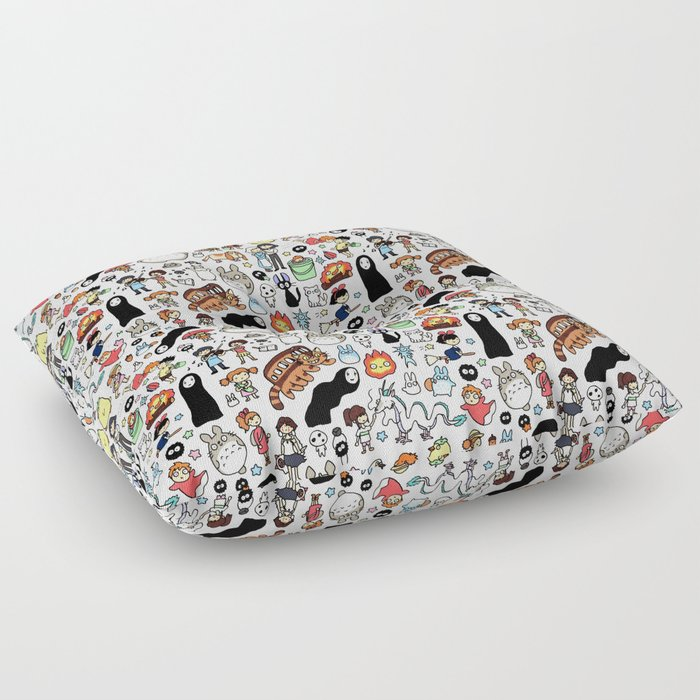 Kawaii Ghibli Doodle Floor Pillow