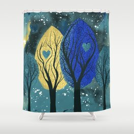 Night Family - Abstract family portrait in trees Shower Curtain