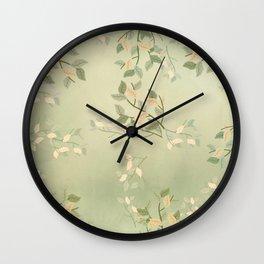 Sage Green Watercolor Woodland Leaves Wall Clock