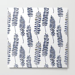 Watercolour Fern Pattern | Navy and Gold Metal Print