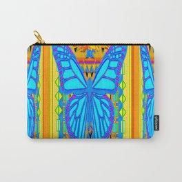 Blue Butterflies Gold Floral Deco Art Carry-All Pouch